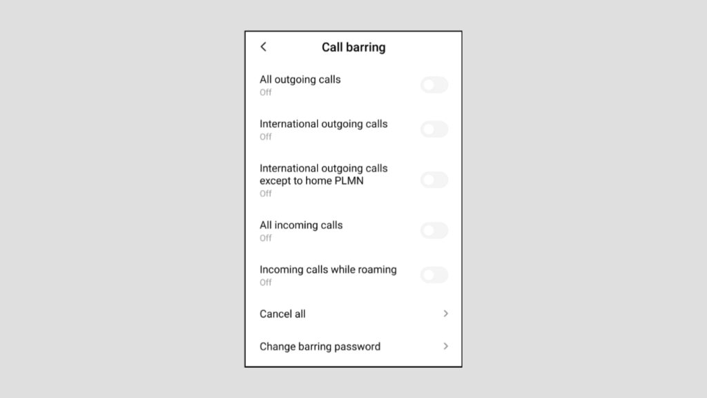 Select Call Barring Option