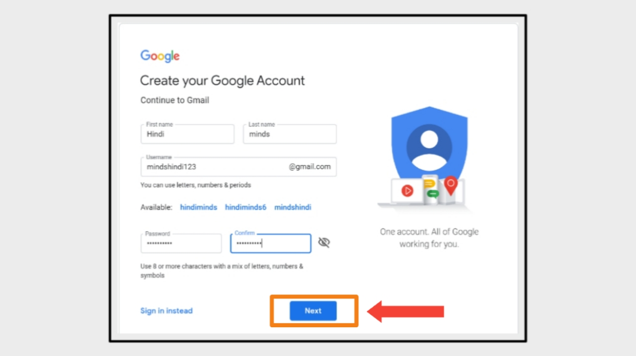 New Gmail Account Personal Information Form Part 1